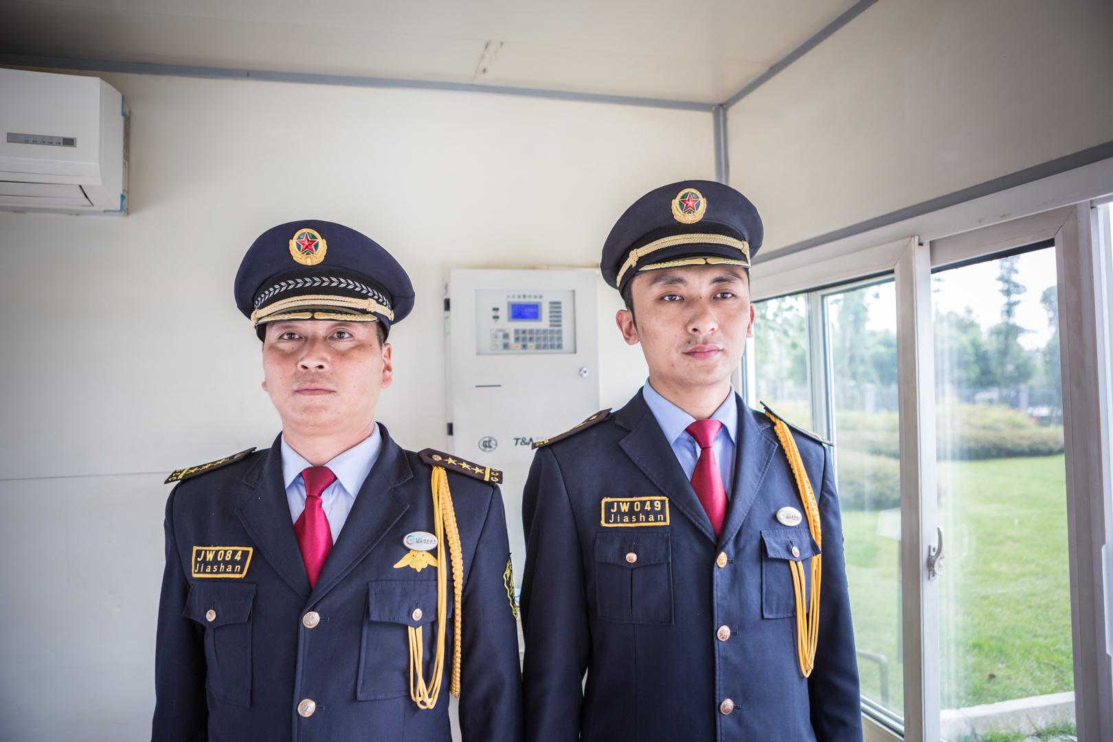 Sicherheitsangestellte in der nähe von Chengdu, China